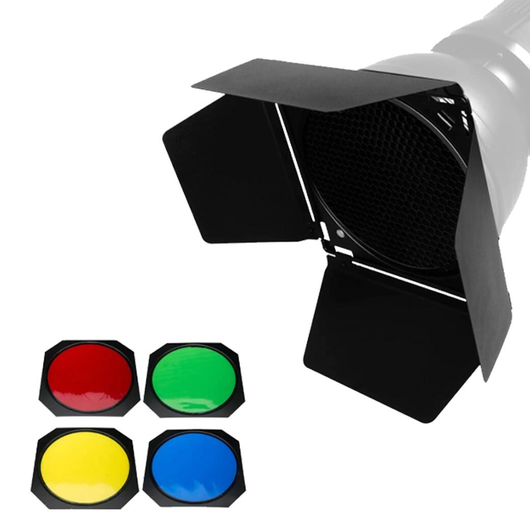 Godox BD-04 Accessories Kit For Flash , LED ใส่บน Standard Reflector 7 inch. ( BarnDoor , Honeycomb , Color Gel*4 )