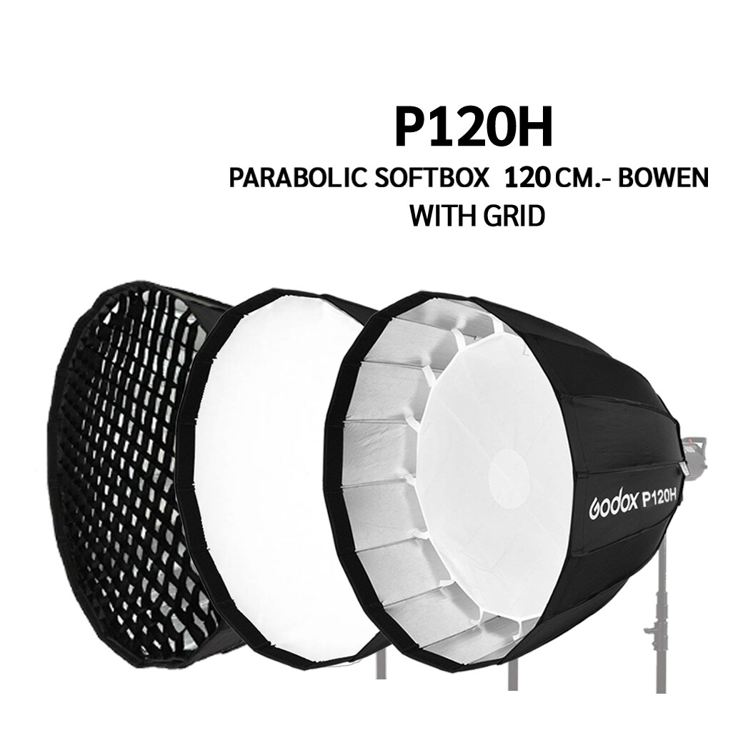 Godox Softbox P120H With Grid , ( P120G , P120L , P120 ) - Parabolic Softbox 120 cm. - Bowen Mount