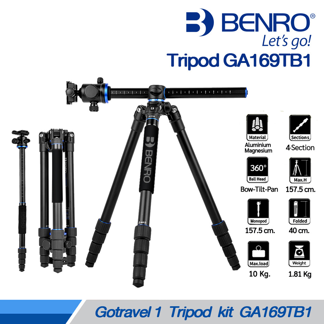 Benro Tripod GA169T B1 - ขาตั้งกล้อง อเนกประสงค์ Monopod , กลับหัว , Top View[ GoTravel 1 GA169TB1 , GA169 ]