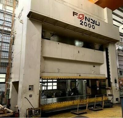 "1 – USED 2,000 TON FONYU ASIAN 236"" X 98"" SSDC MECHANICAL PRESS"