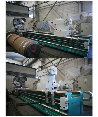 """1 - USED 2,000mm X 14,000mm (78.75"""" X 550"""") D-F CONVENTIONAL HORIZONTAL LATHE WITH DOUBLE CARRIAGE"""