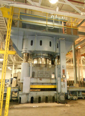 1 - USED 3,500 TON LAKE ERIE 4-POST DOWN ACTING HYDRAULIC PRESS