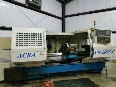 "1 - USED 26"" X 80"" ACRA FCH-2680 CNC LATHE WITH 8"" HOLE"