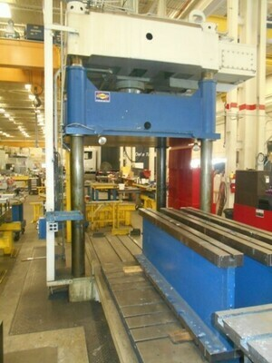 1 - USED 150 TON DAKE SPOTTING PRESS WITH ROLLING BOLSTER
