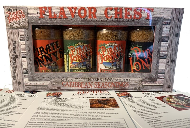 Flavor Chest of Seasonings - 4 Pack - Small Bottles. Choose between the SPICEY set and the MILD Set