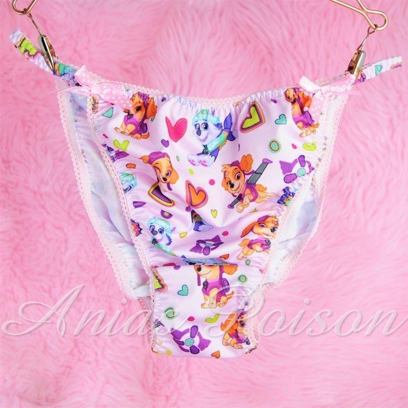Rare Novelty Character print Spandex Stretch string bikini pink Pound Puppy Princess Panties