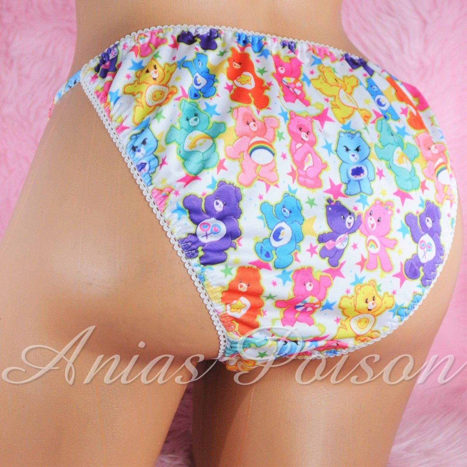Rare Novelty Character print Spandex Stretch string bikini Care Bear Rainbow Princess Panties