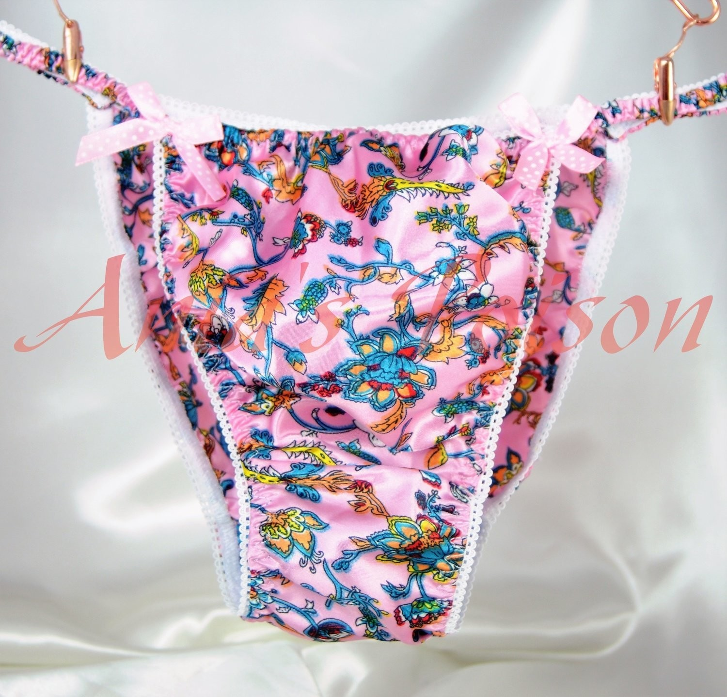 Ania's Poison MANties S - XXL Floral Ethnic Tribal Rare PINK 100% polyester string bikini sissy mens underwear panties