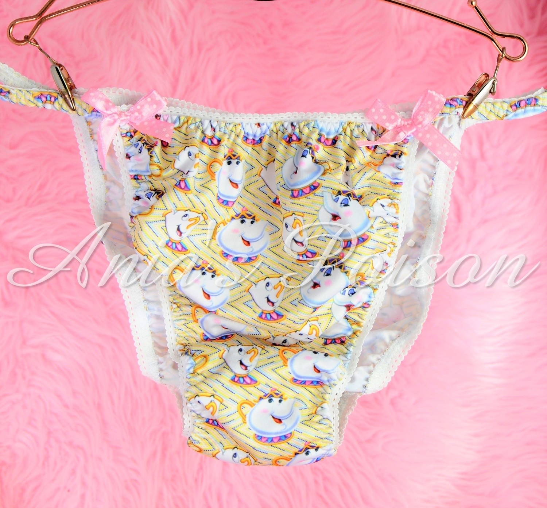 Rare Novelty Childhood Mrs Pot's Character print Spandex Stretch string bikini Yellow Ivory Mens Panties