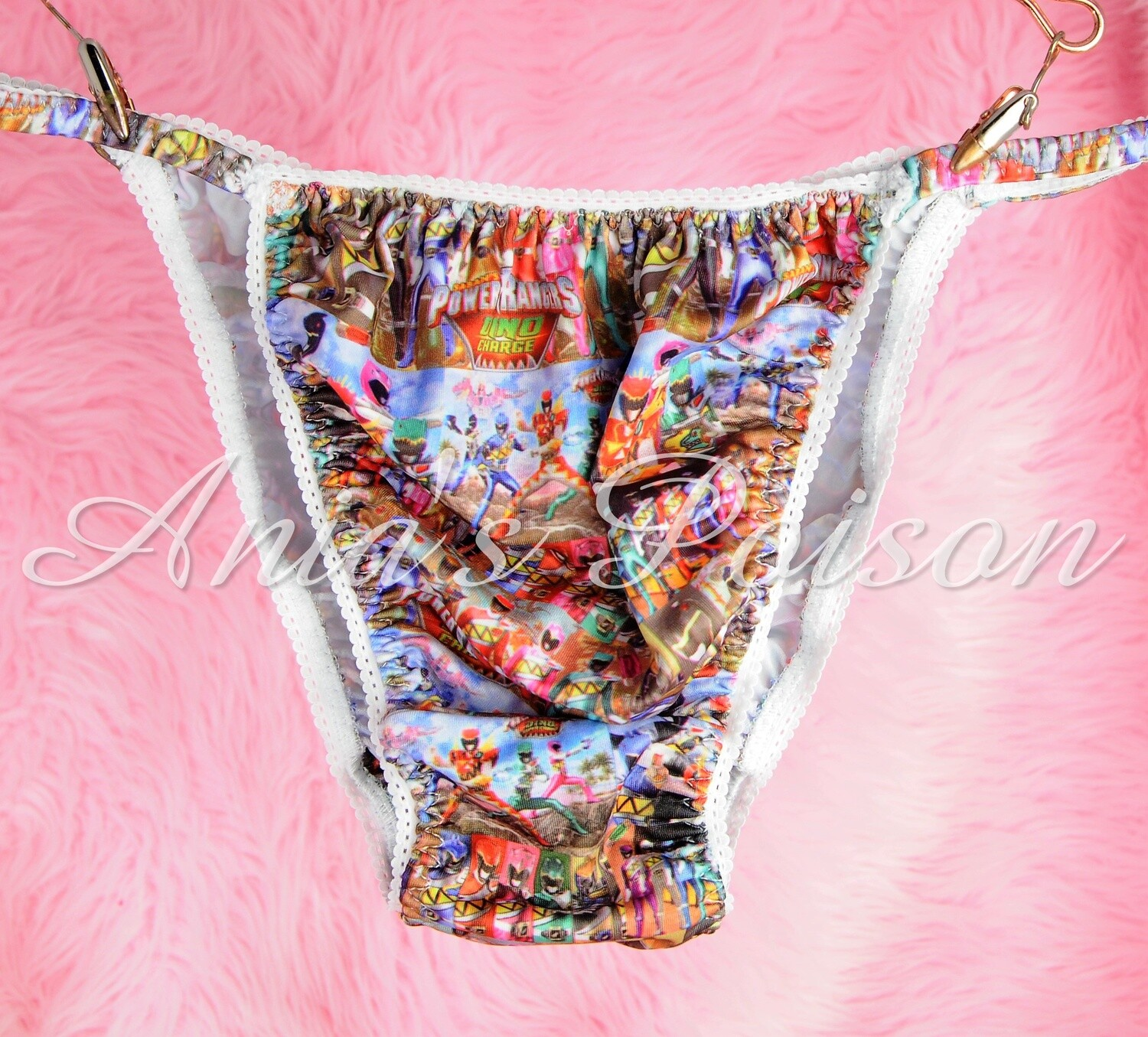 SISSY mens PANTIES Powerful Rangers  Childhood Print Spandex Stretch String Bikini