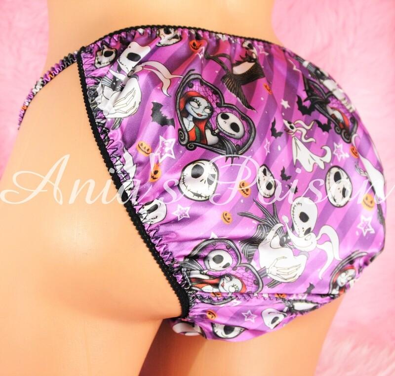 Ania's Poison Jack Pumpkin King and Sally Halloween Print Super Rare 100% polyester SATIN string bikini sissy mens underwear panties