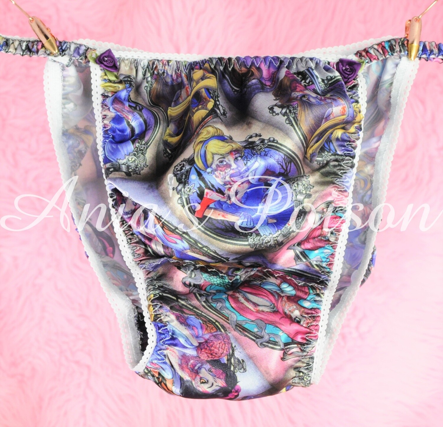 Ania's Poison Zombie Princess Horror Halloween Print Super Rare 100% polyester SATIN string bikini sissy mens underwear panties