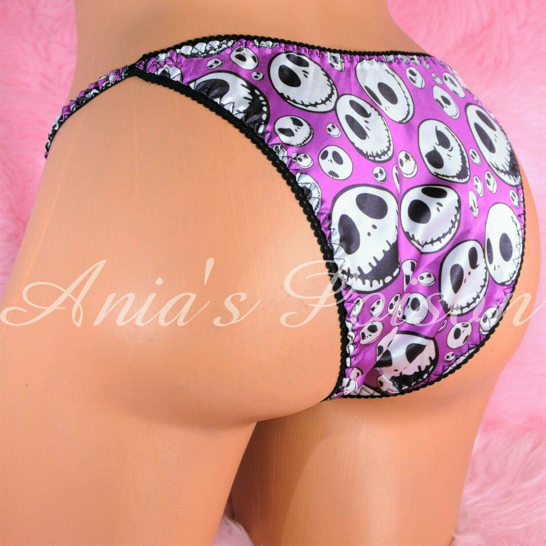 Ania's Halloween Jack Skeleton Purple Satin RARE sissy ladies cheeky cut Brazilian panties S/M and L/XL