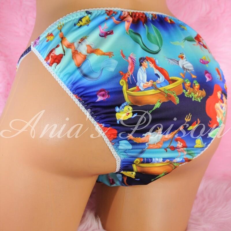 Rare Novelty Character Mermaid print Spandex Stretch string bikini Blue Multi Princess Panties