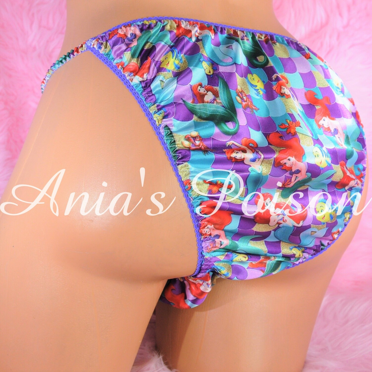 Ania's Poison satin String bikini Mermaid Princess Half Back Cheeky Cut MENS satin shiny panties
