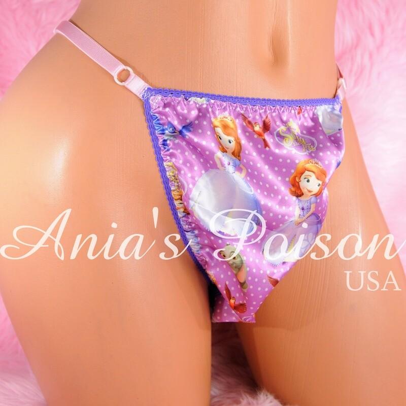 sissy thong SATIN Mermaid / Jack Skeleton /Sophia Purple sissy men's soft shiny Triangle T thong panties ADJUSTABLE sides underwear panties