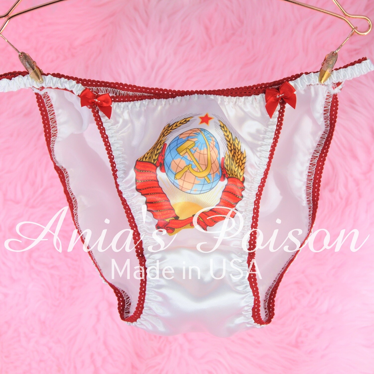 CUSTOM MADE MENS SISSY PANTIES - ANY PICTURE OR TEXT ON WHITE or PINK