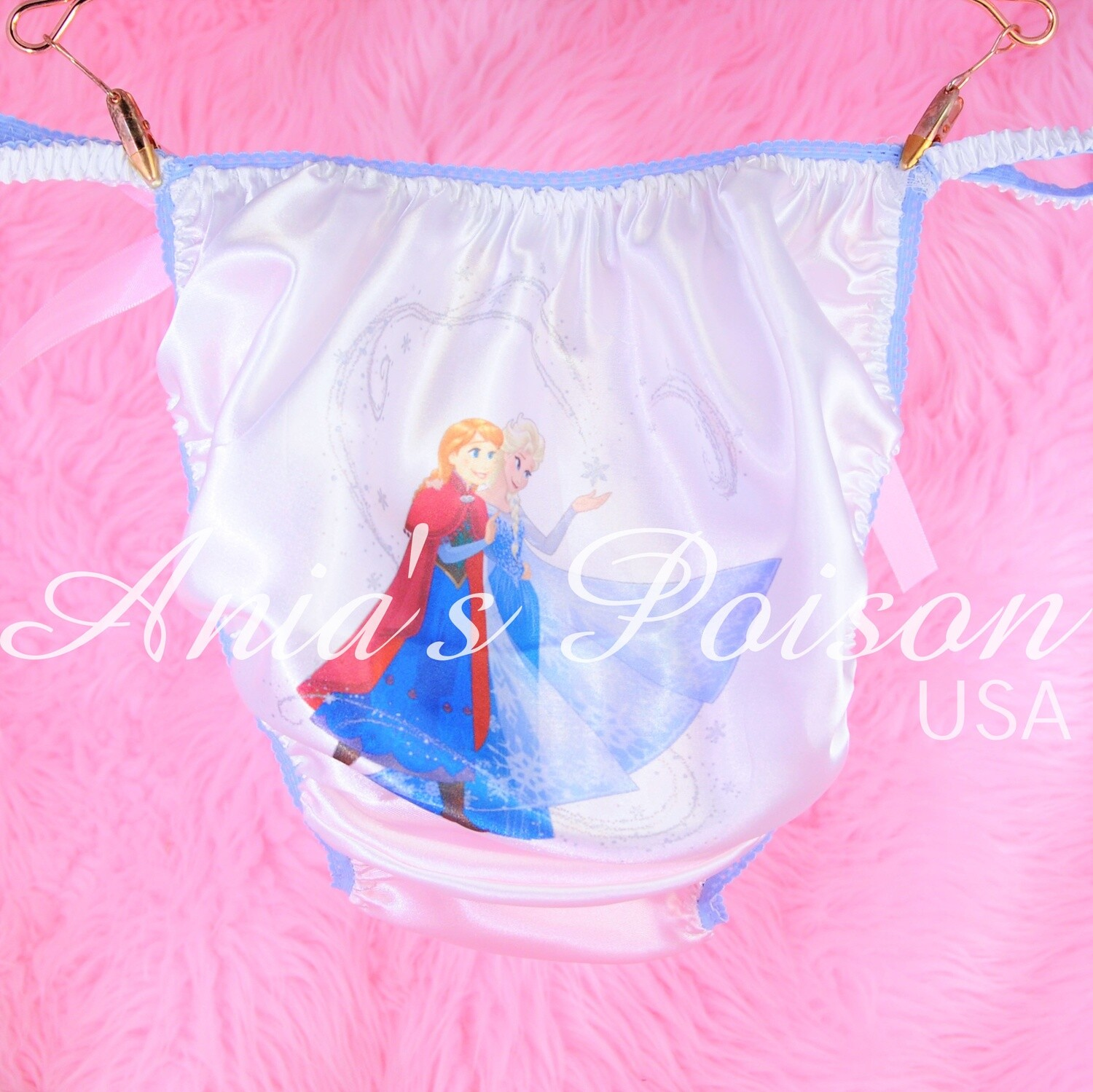 White Rare FROZEN Anna Elsa Magic classic shiny Satin string bikini panties - Sissy Princess RARE