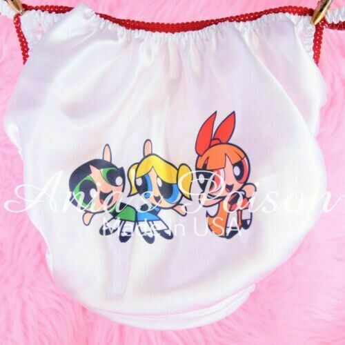 Rare power Puff Girls Super Heroes Satin string bikini Mens panties - Sissy Princess