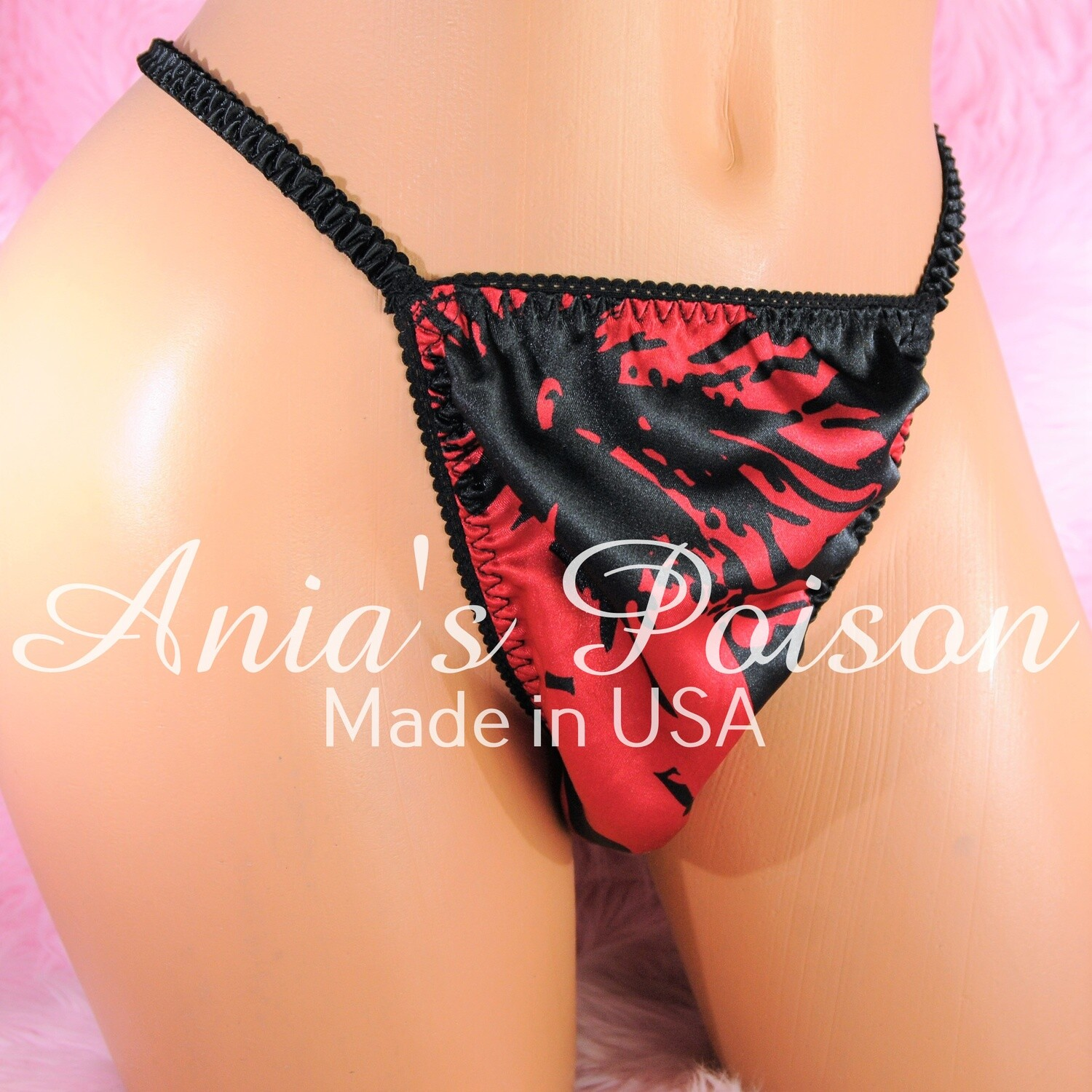 Ultimate Mens satin MANties  little slave sissy pouch string side thong humiliation exotic Floral Black Red panties OS