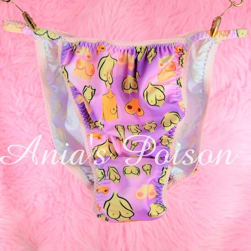 Boobs All Breasts are beautiful print Spandex Stretch string bikini mens panties