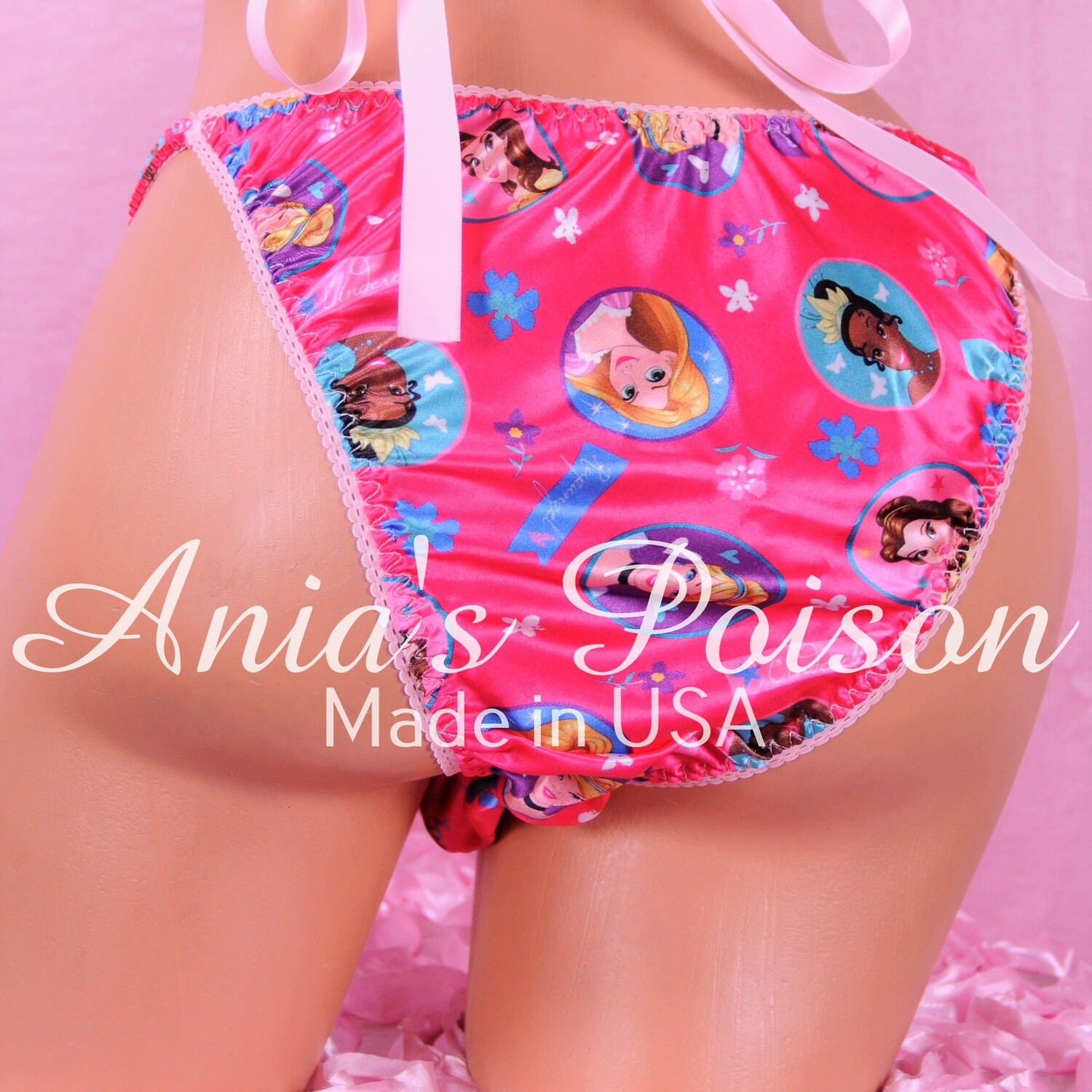 Ania's Poison satin String bikini Pink Princess Half Back Cheeky Cut MENS satin shiny panties