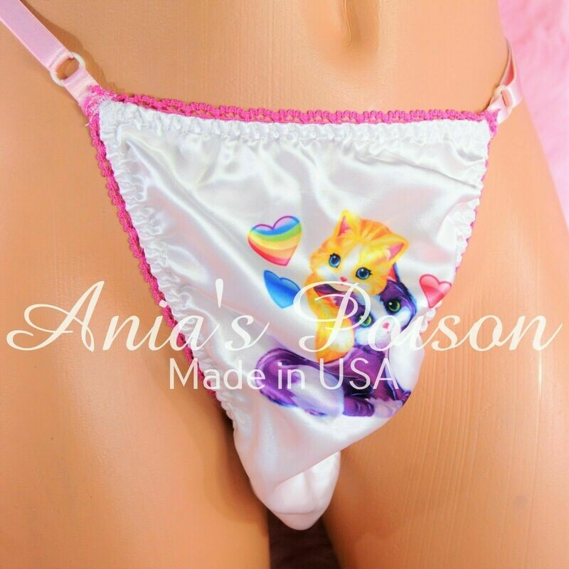 Rare Pink White Lisa Frank Style 80s Kittens in Boots Adjustable Sides OS Mens THONG panties