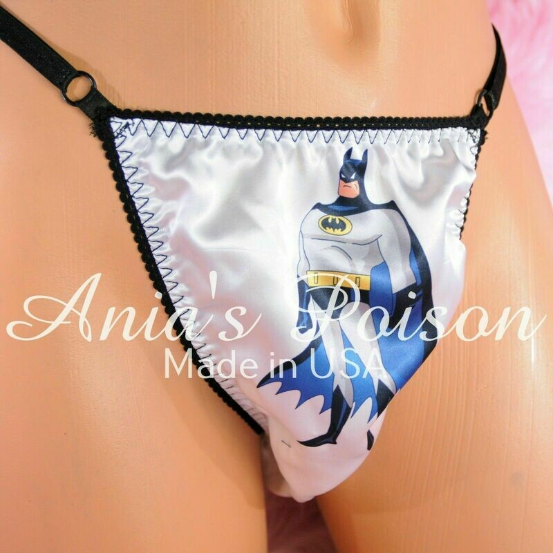 Rare Black Trim BATMAN Adjustable Sides OS Mens THONG panties