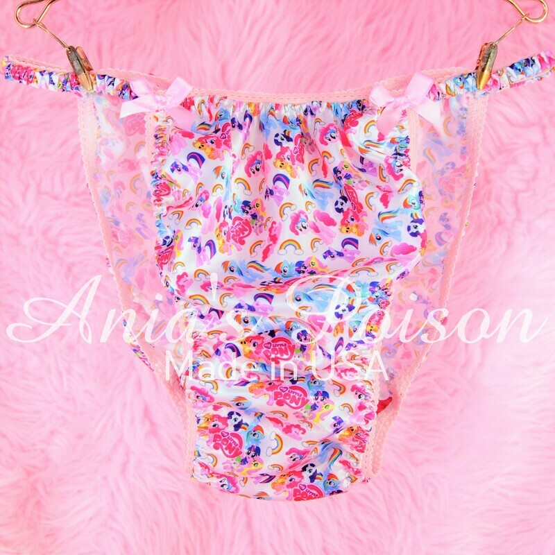 Satin Mens Sissy My Little Pony Ponies 100% polyester string bikini mens underwear panties