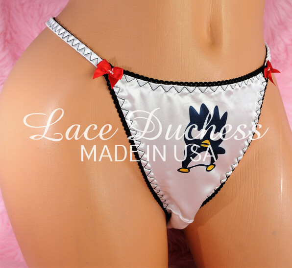 Lace Duchess Classic 80's cut Hello Kitty Badte-Maru Character movie print satin wet look panties sz 5 6 7 8