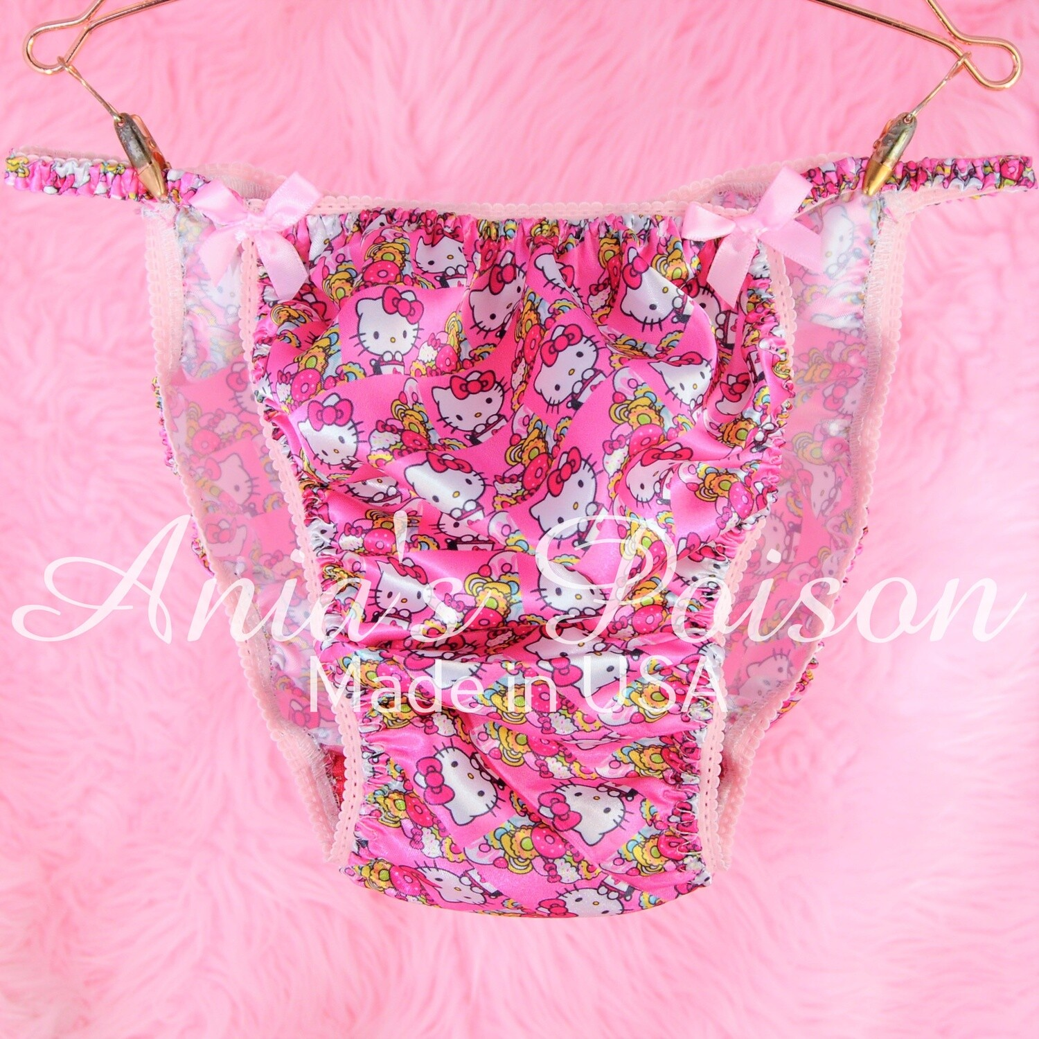 Ania's Poison Satin hello Kitty Pink Princess String Bikini mens panties - KAWAII