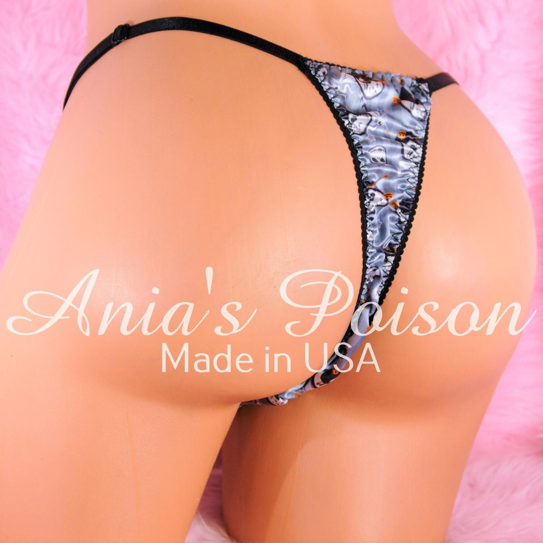 HALLOWEEN Print SATIN Jack Skeleton Gray sissy men's soft shiny Triangle T thong panties ADJUSTABLE sides underwear panties