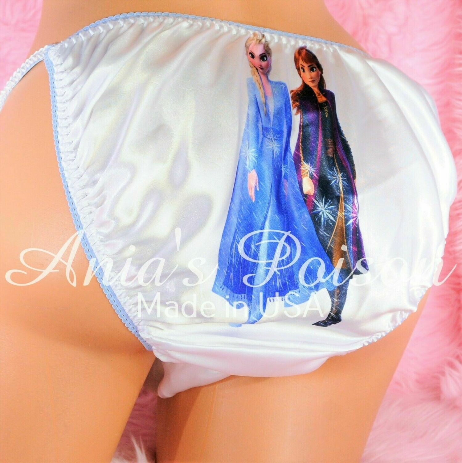 Rare Elsa Anna Sisters Princess shiny Satin string bikini Mens panties - Sissy Princess
