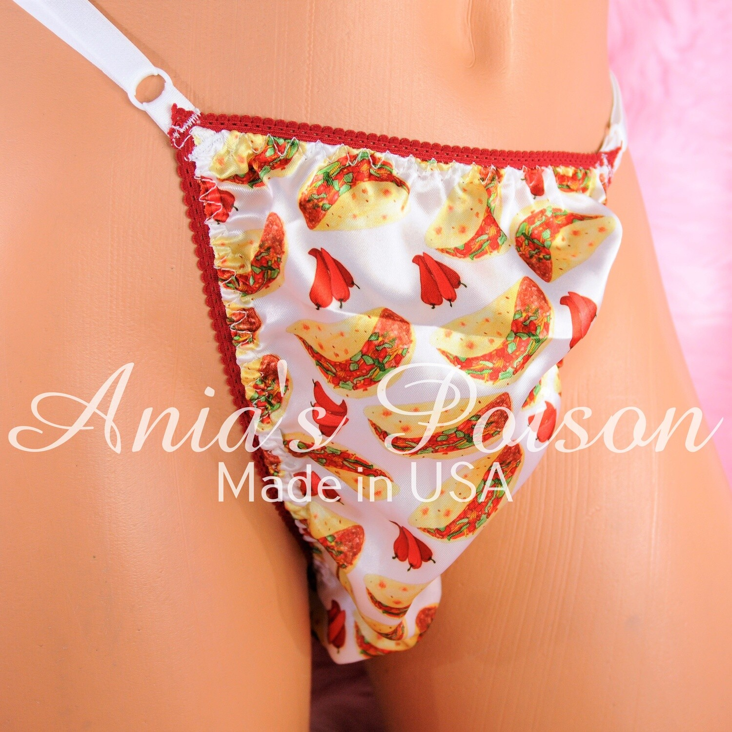 sissy thong SATIN TACO Hot Pepper print sissy men's soft shiny Triangle T thong panties ADJUSTABLE sides underwear panties
