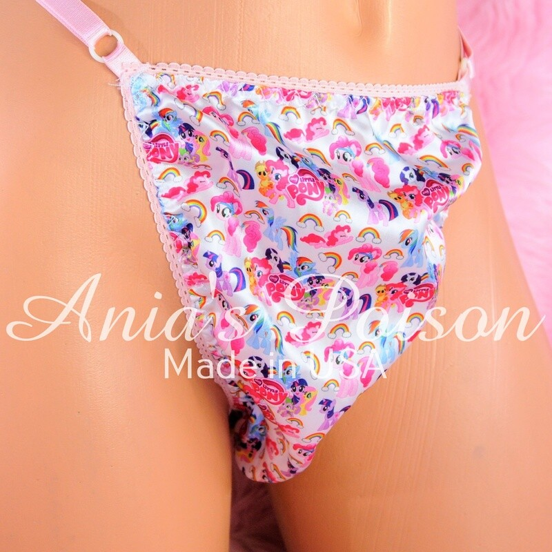 sissy thong SATIN micro Little Pony sissy men's soft shiny Triangle T thong panties ADJUSTABLE sides underwear panties