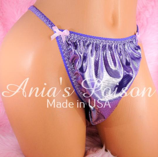 Anias Poison MANties New RARE Purple metallic shiny FOIL string bikini sissy mens Dancer panties