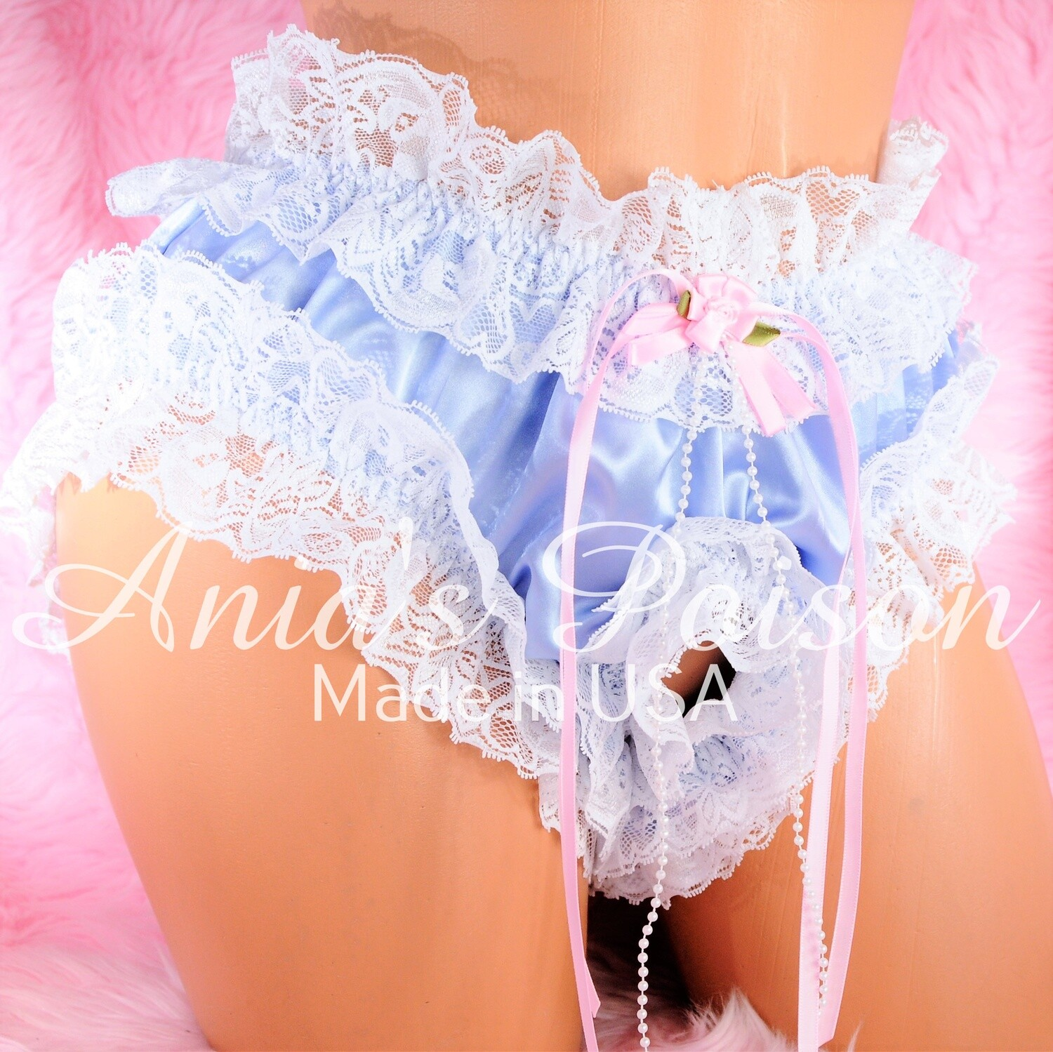 Sissy Spanking Maid satin high cut super frilly open crotch shiny crotchless unisex humiliation lace panties