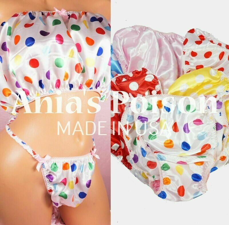 Ania's Poison MANties S - XXL Polka Dot White Trim shiny Rare 100% polyester string bikini sissy mens BRA Bandeau
