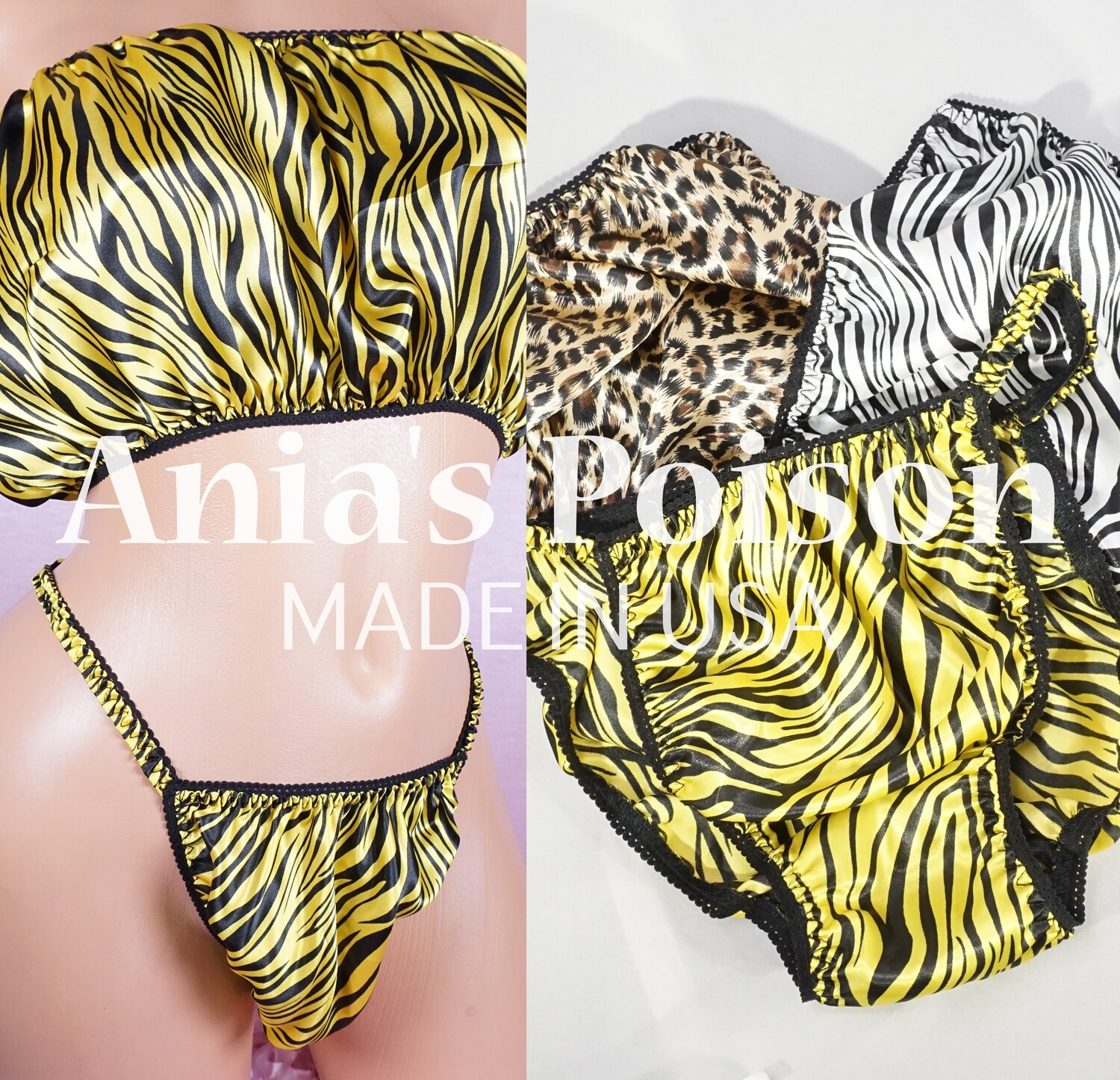 Ania's Poison Animal Prints shiny Rare 100% polyester string bikini sissy mens underwear panties