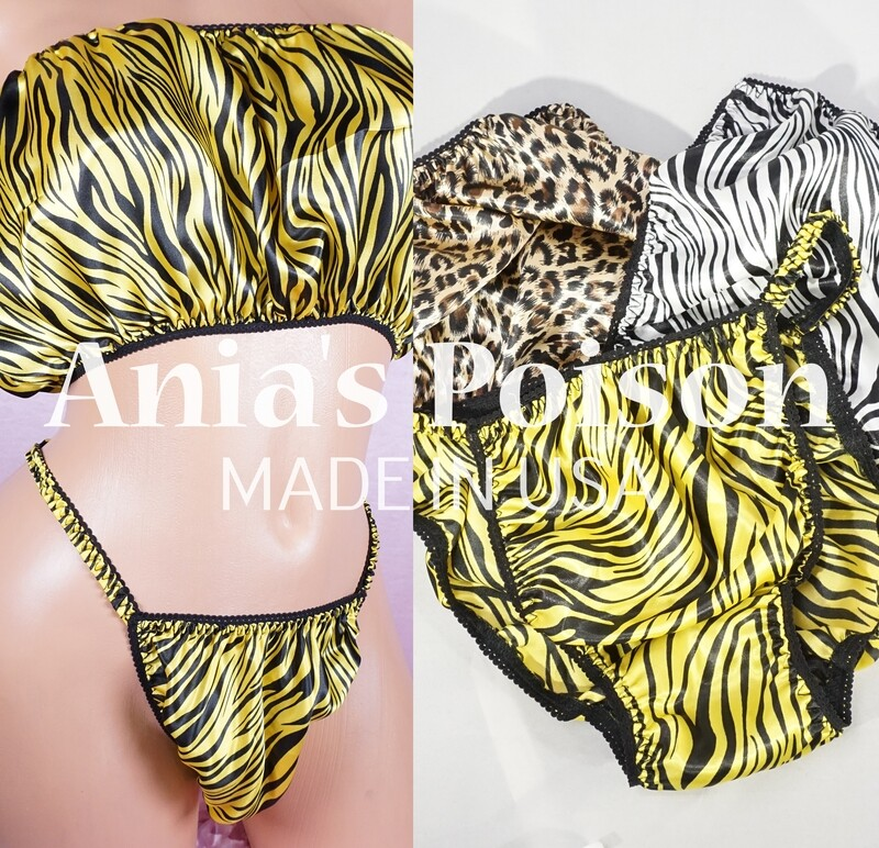 Ania's Poison Animal Prints shiny Rare 100% polyester string bikini sissy mens underwear panties or BRA