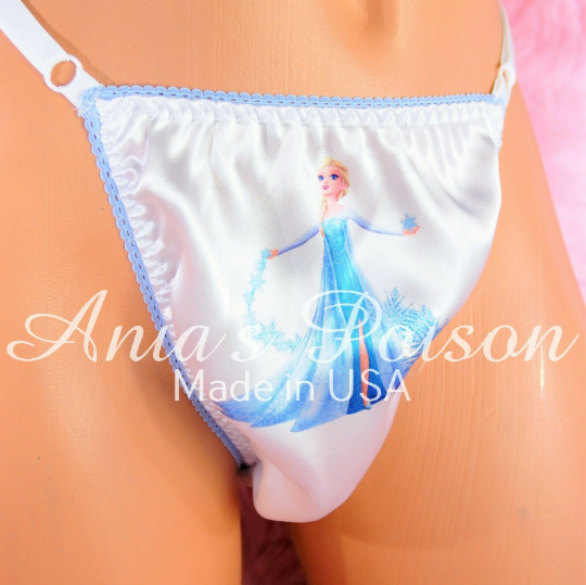 Rare Pink White blue Ice Princess Adjustable Sides OS Mens THONG panties