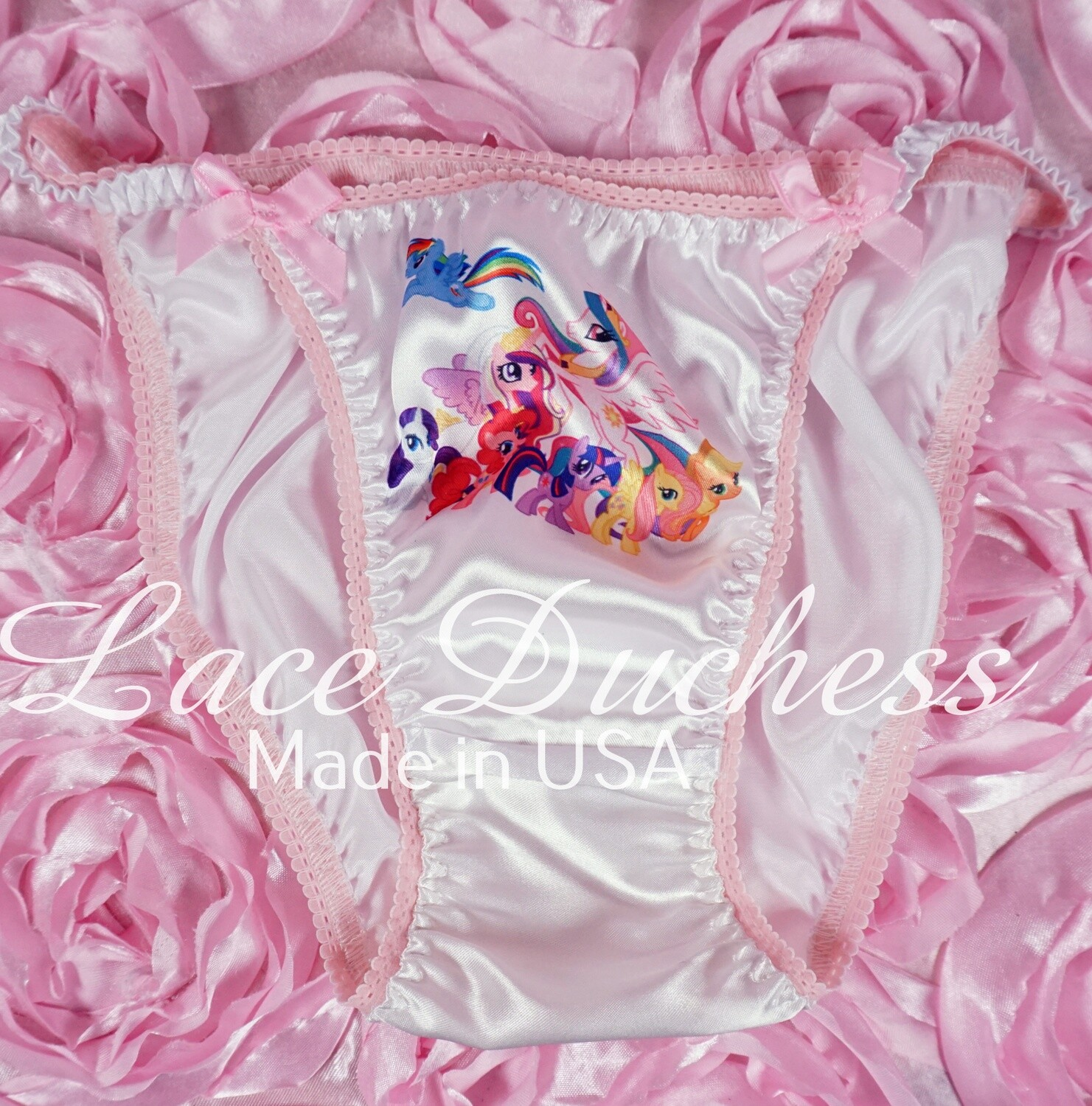 Lace Duchess Classic 80's cut My Little PONY group Character movie print satin wet look panties sz 5 6 7