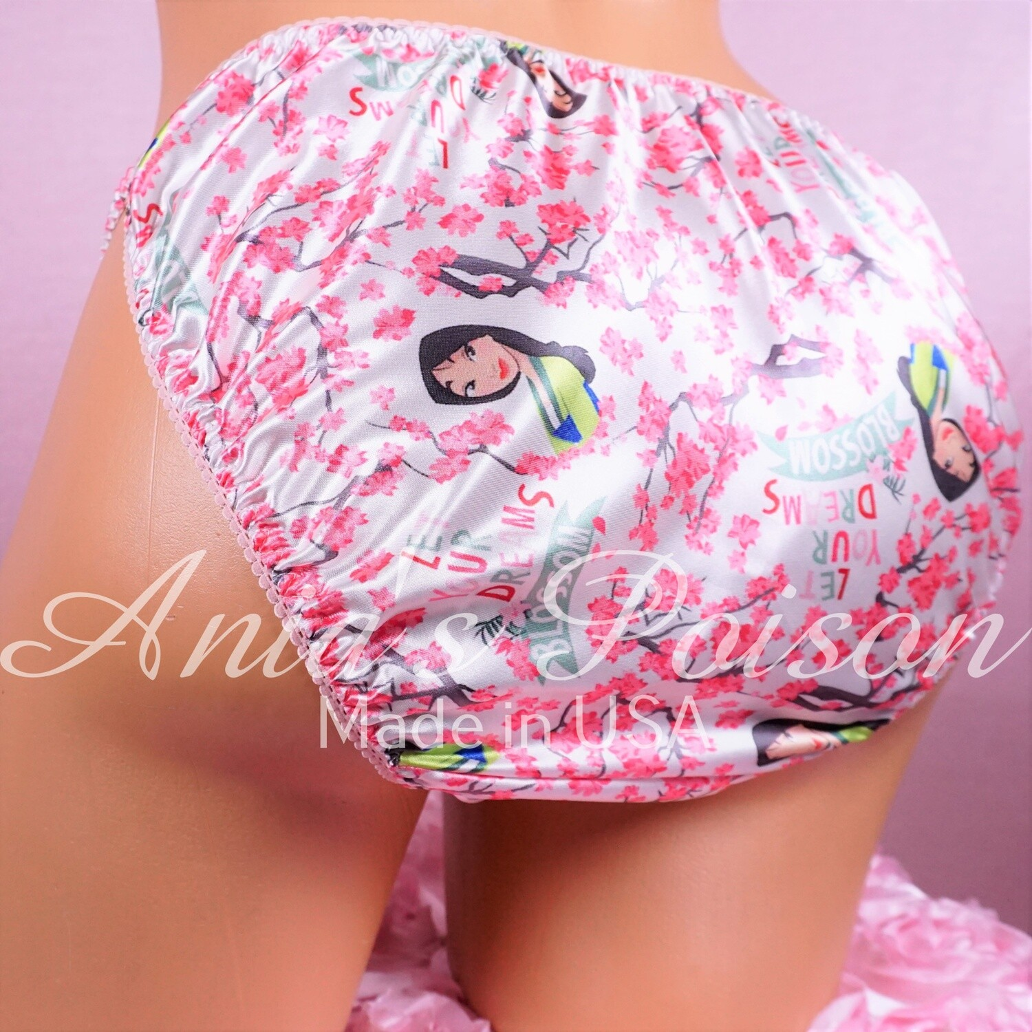 Satin Mens Sissy Print China Princess Lotus Flowers 100% polyester string bikini mens underwear panties