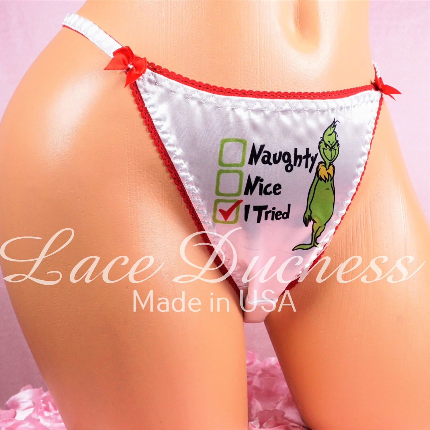 Lace Duchess Classic 80's cut Christmas Grouch Naughty And Nice Checklist Character movie print satin wet look panties sz 5 6 7 8