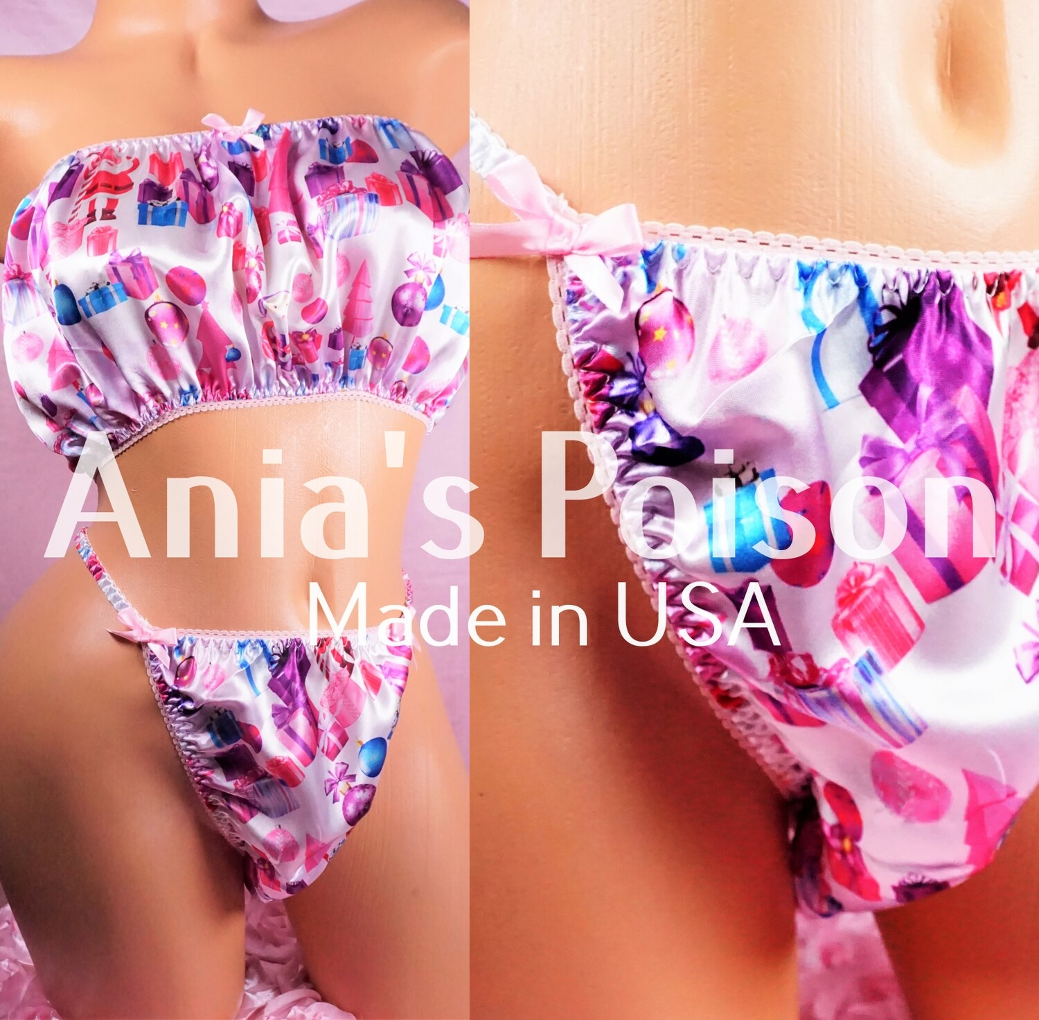 Ania's Poison Christmas Pink Gifts Cute Santa Print 100% polyester silky soft string bikini sissy mens underwear panties