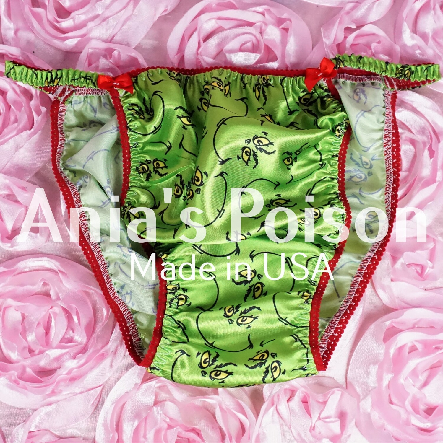 Ania's Poison GRINCH Green Christmas Grouch Print 100% polyester silky soft string bikini sissy mens underwear panties