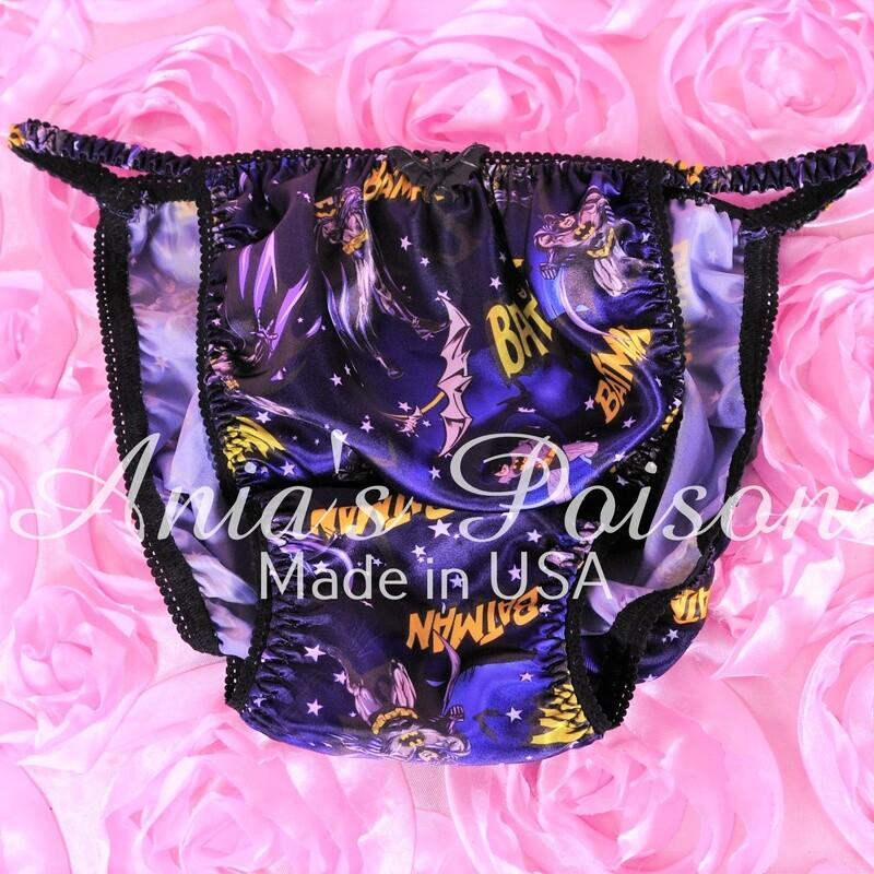 Ania's Poison BATMAN character print Satin Shiny string bikini sissy mens panties