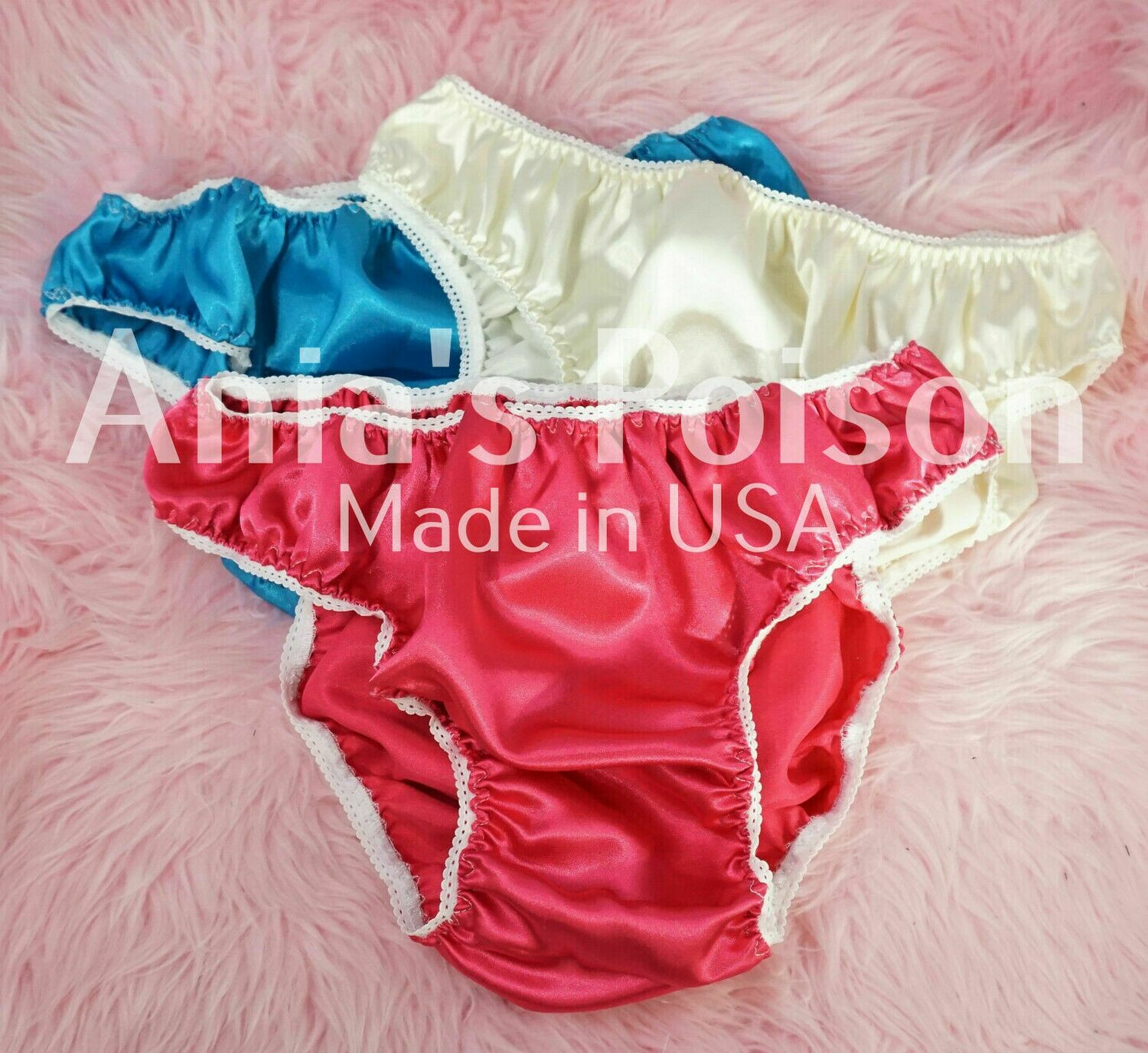 Anias Poison Full Solid color bikini cut Soft satin lined SISSY panties for men MANTIES sz S - XXL