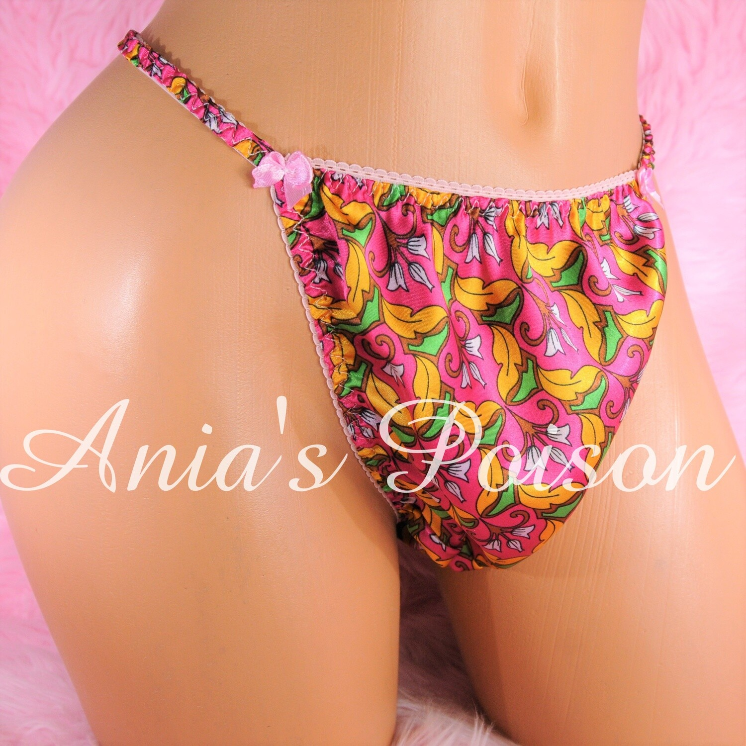 Ania's Poison HOT PINK Exotic Floral Prints 100% polyester string bikini sissy mens underwear panties