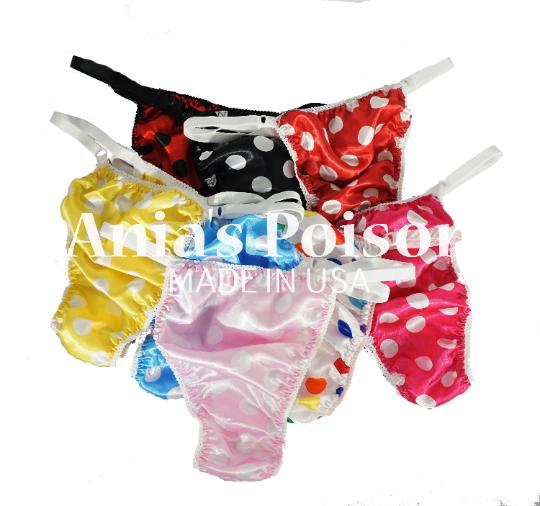 sissy thong POLKA DOT SATIN sissy men's soft shiny Triangle T thong panties ADJUSTABLE sides underwear panties